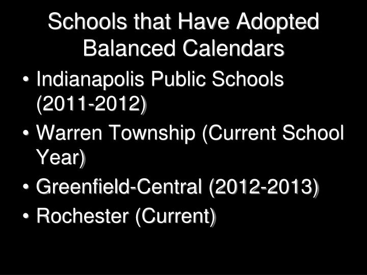 Schools that Have Adopted Balanced Calendars