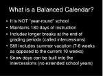 what is a balanced calendar