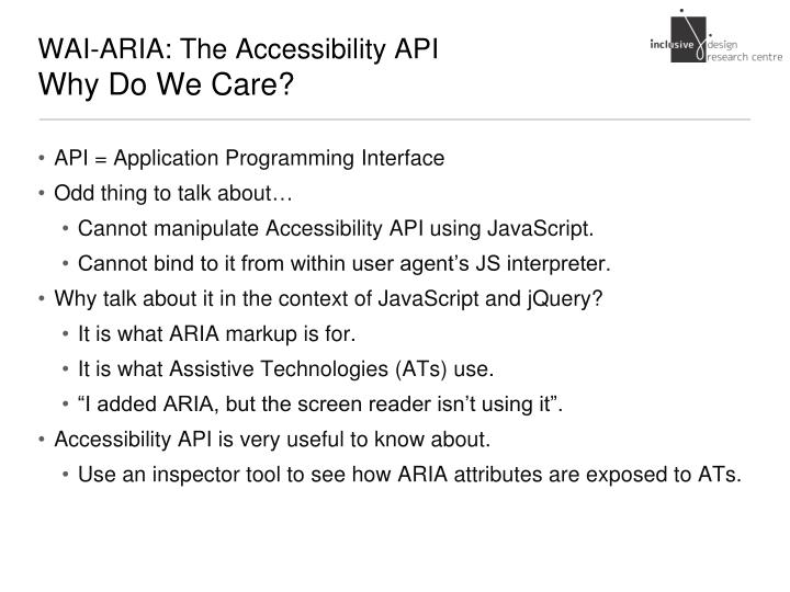 Wai aria the accessibility api why do we care