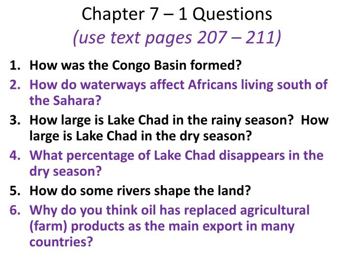 Chapter 7 – 1 Questions