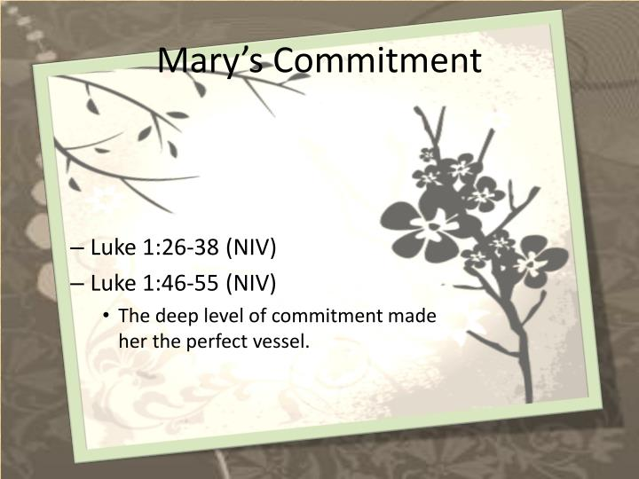 Mary's Commitment