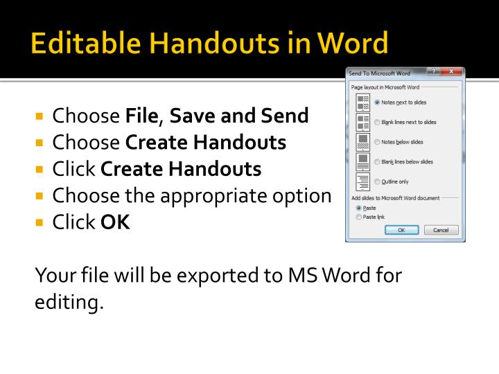 Editable Handouts in Word