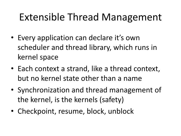 Extensible Thread Management