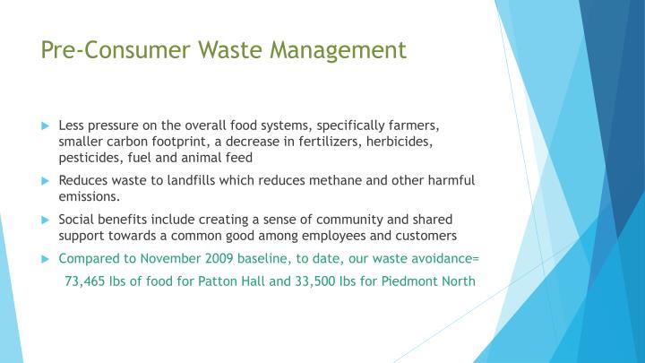 Pre-Consumer Waste Management