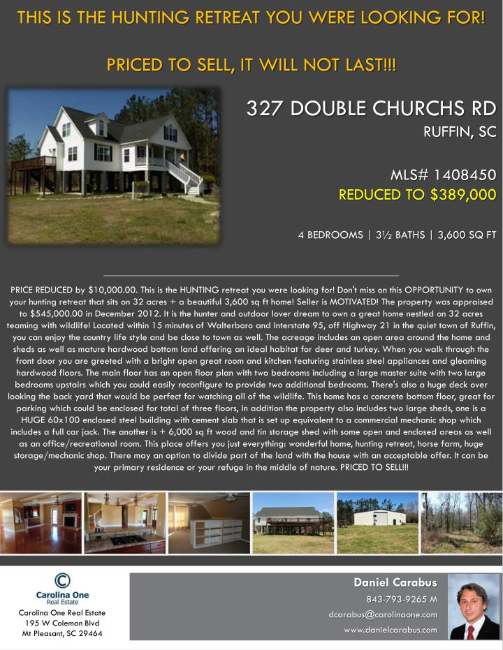 327 double churchs rd ruffin sc mls 1408450 reduced to 389 000 4 bedrooms 3 baths 3 600 sq ft