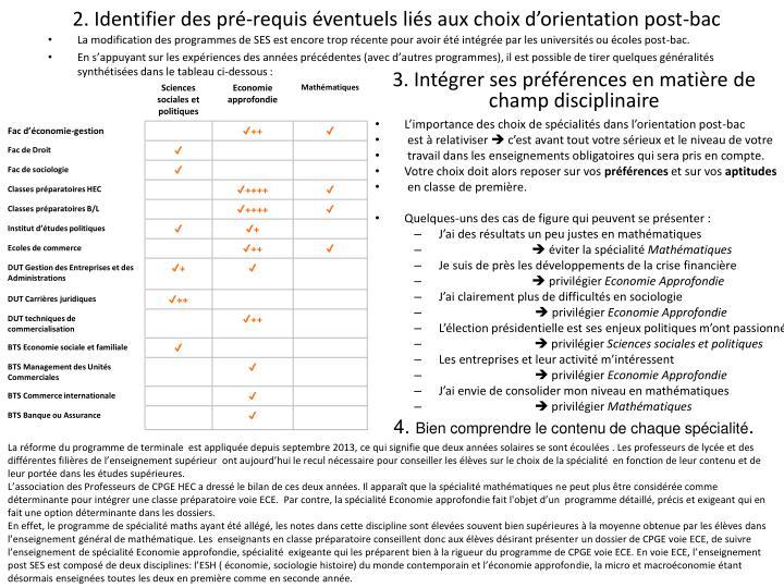 2. Identifier des pré-requis éventuels liés aux choix d'orientation post-bac