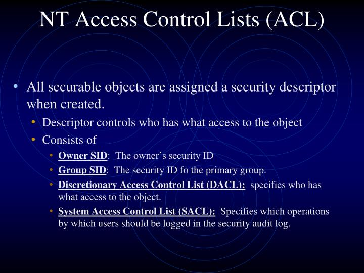 NT Access Control Lists (ACL)