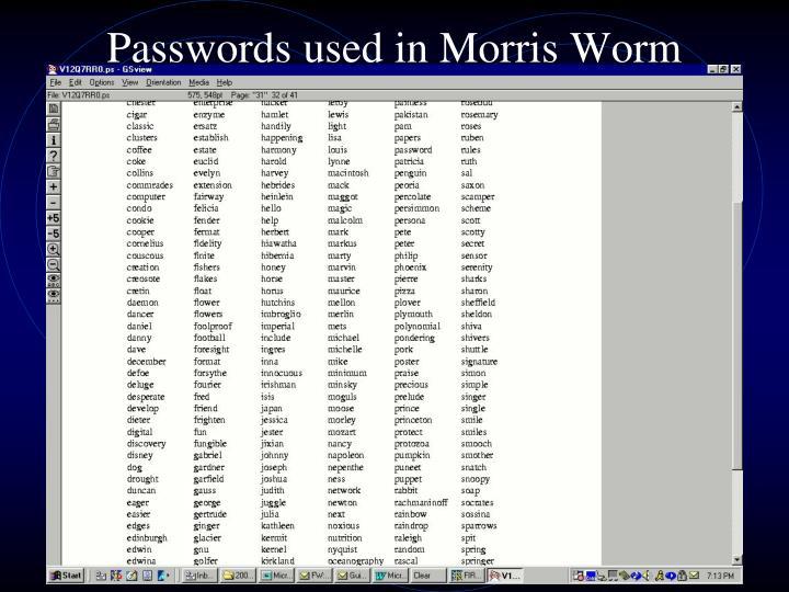 Passwords used in Morris Worm