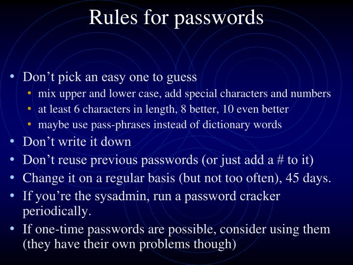 Rules for passwords