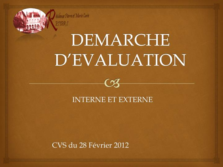 Demarche d evaluation