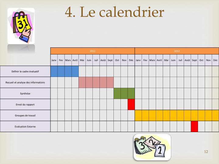 4. Le calendrier