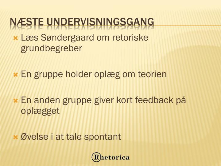 Læs Søndergaard om retoriske grundbegreber