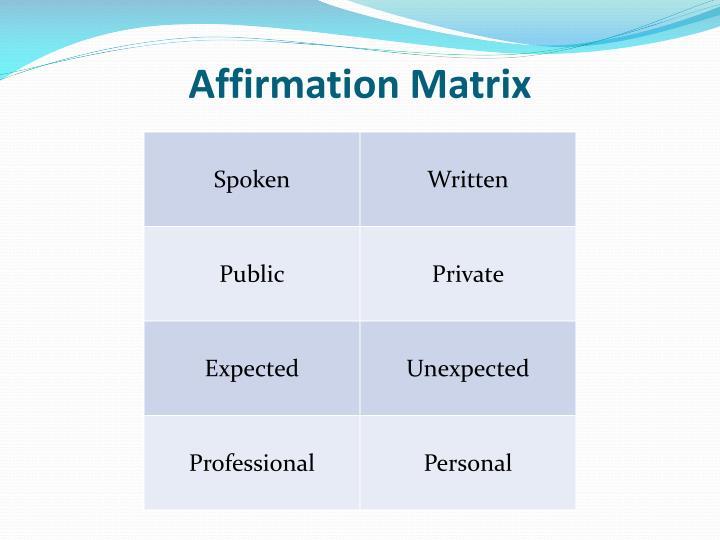Affirmation Matrix