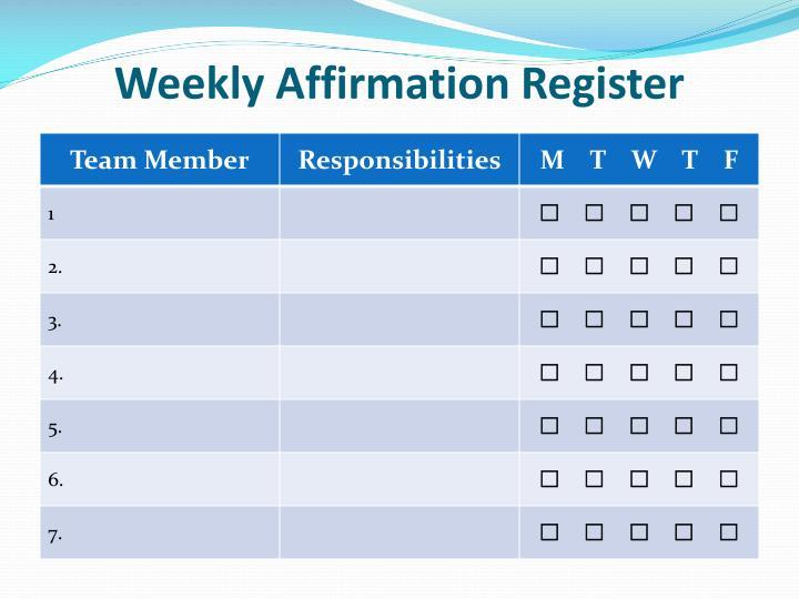 Weekly Affirmation Register