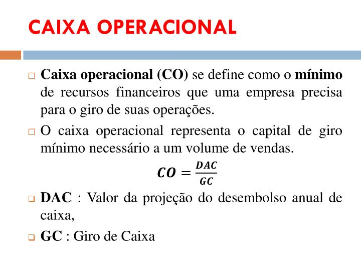 CAIXA OPERACIONAL