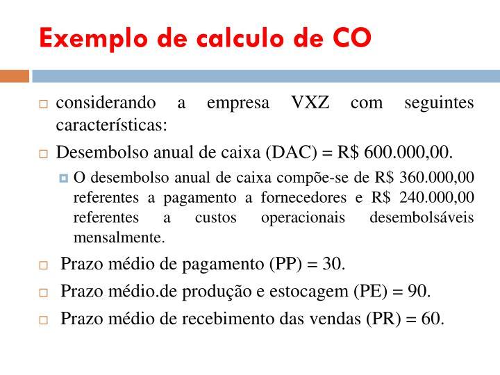 Exemplo de calculo de CO