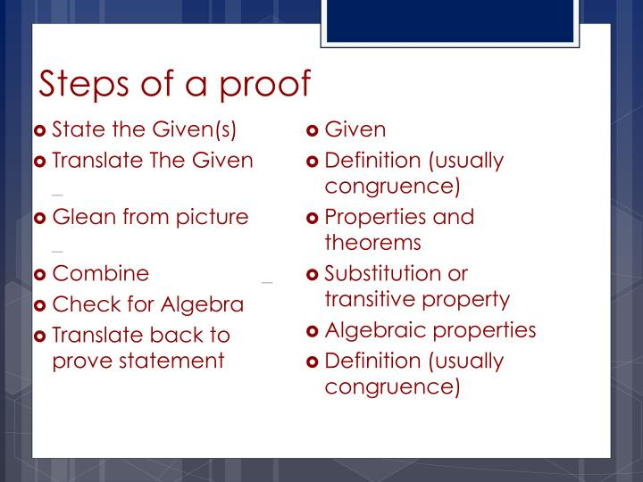 Steps of a proof