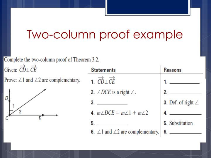 Two-column proof example
