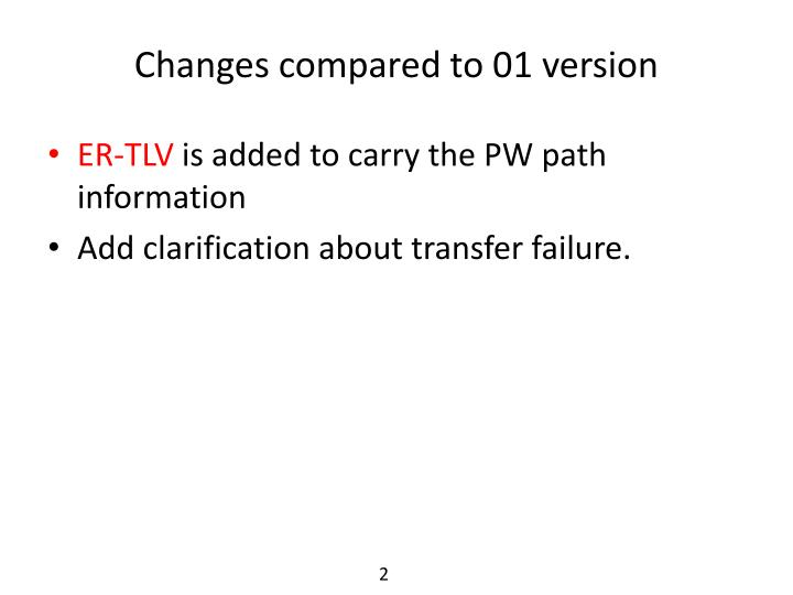 Changes compared to 01 version