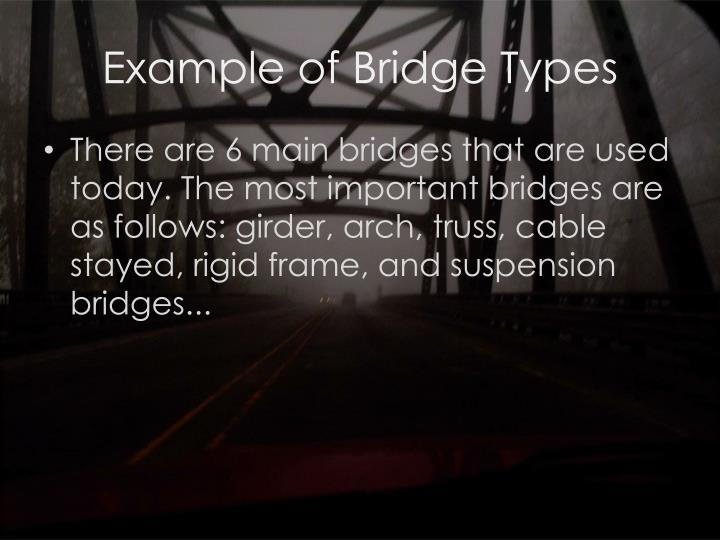 Example of bridge types
