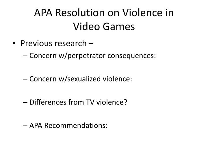 APA Resolution on Violence in