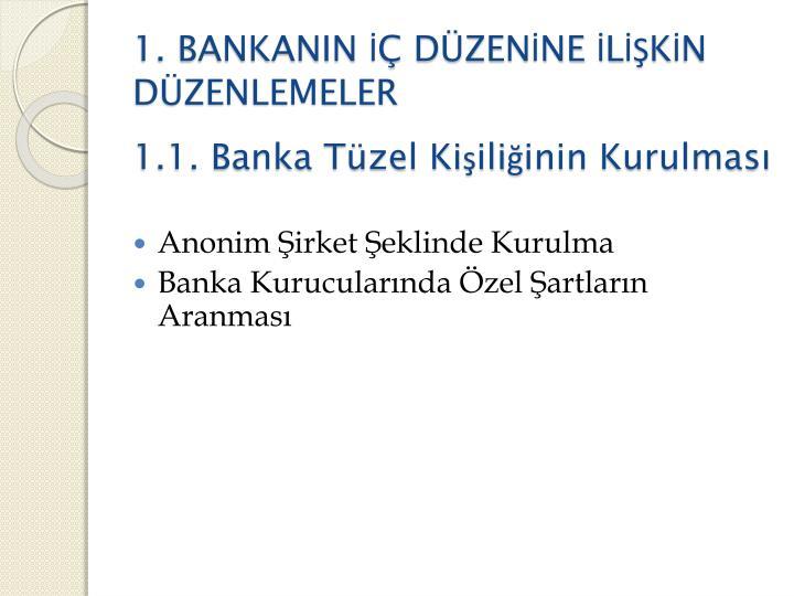 1. BANKANIN İÇ DÜZENİNE İLİŞKİN DÜZENLEMELER