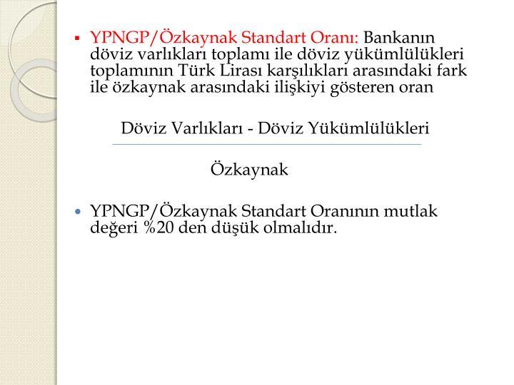 YPNGP/Özkaynak Standart Oranı: