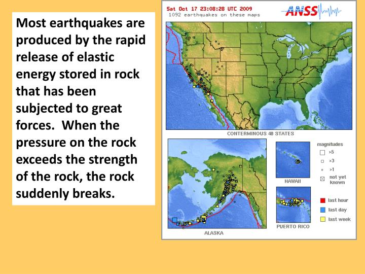 Most earthquakes are produced by the rapid release of elastic energy stored in rock that has been subjected to great forces.  When the pressure on the rock exceeds the strength of the rock, the rock suddenly breaks.