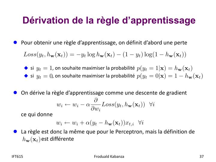 Dérivation de la règle d'apprentissage
