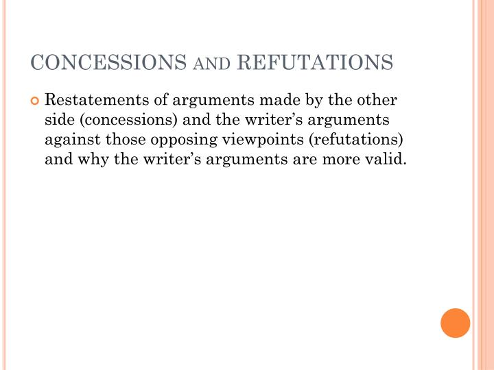 CONCESSIONS and REFUTATIONS