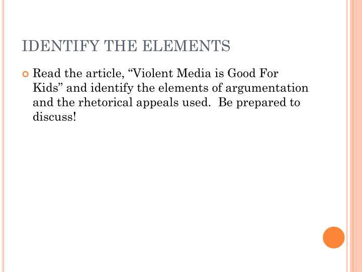 IDENTIFY THE ELEMENTS