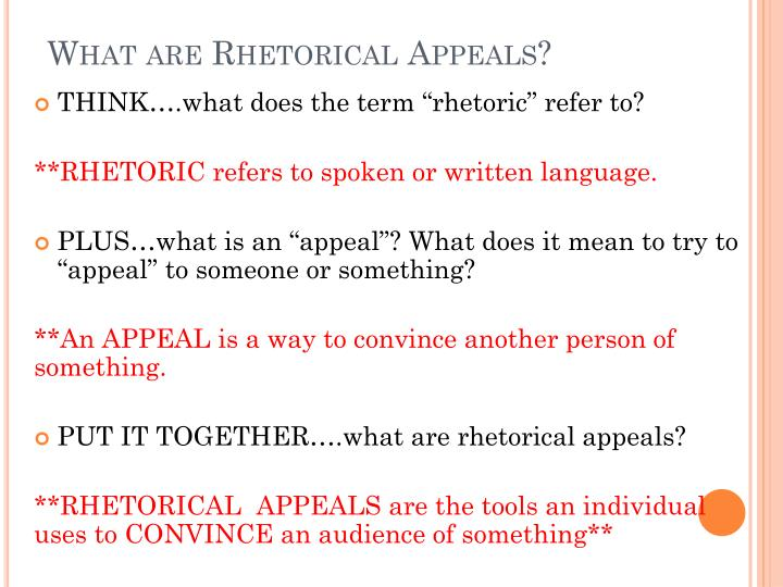 What are rhetorical appeals
