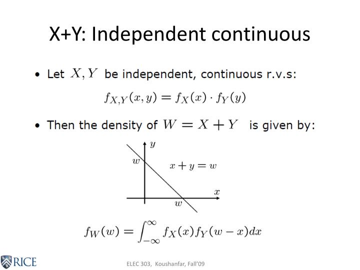 X+Y: Independent continuous