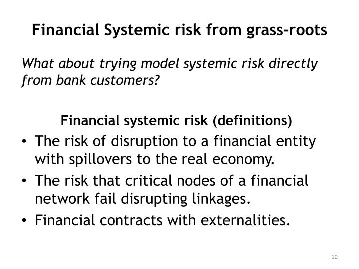 Financial Systemic risk from grass-roots