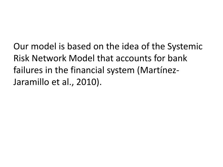 Our model is based on the idea of the Systemic Risk Network Model that accounts for bank failures in the financial system (Martínez-Jaramillo et al., 2010).