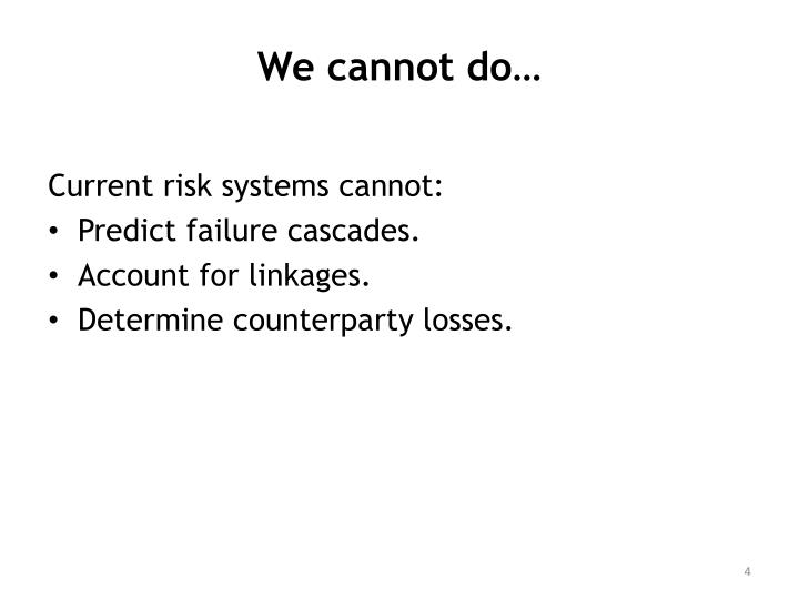 We cannot do…