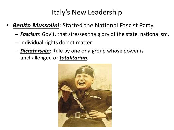 Italy's New Leadership