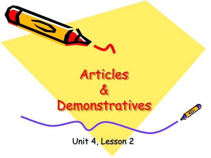 Articles demonstratives