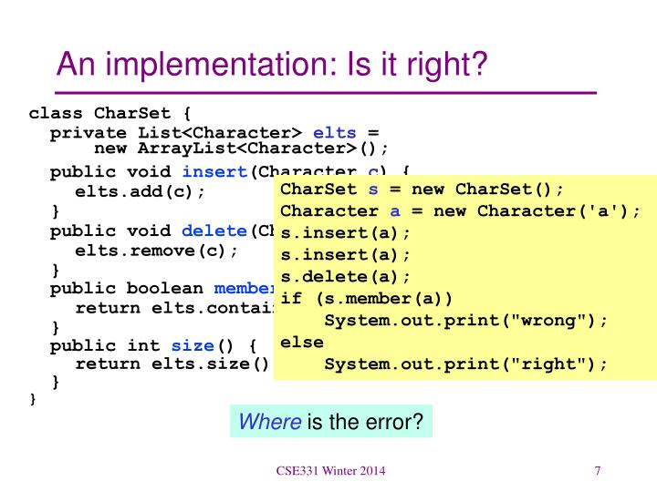 An implementation: Is it right?