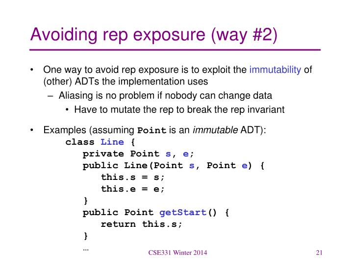 Avoiding rep exposure (way #2)