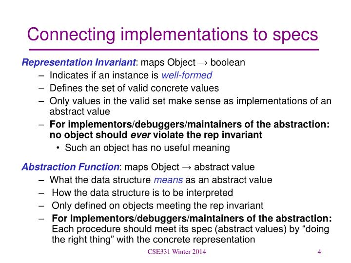 Connecting implementations to specs