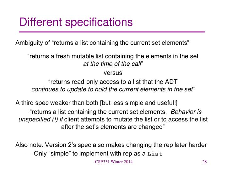 Different specifications