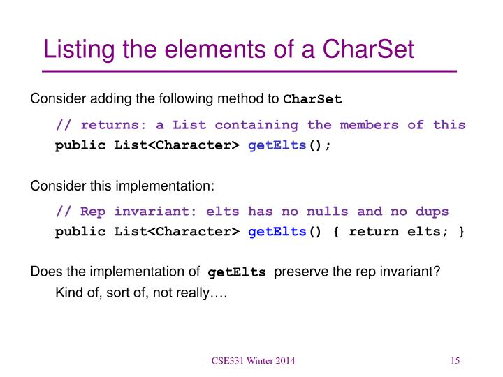 Listing the elements of a CharSet