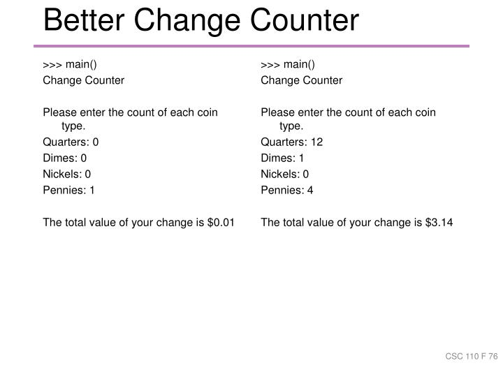 Better Change Counter
