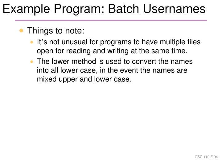 Example Program: Batch Usernames