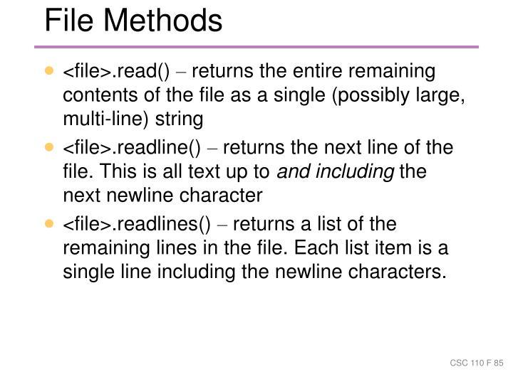 File Methods