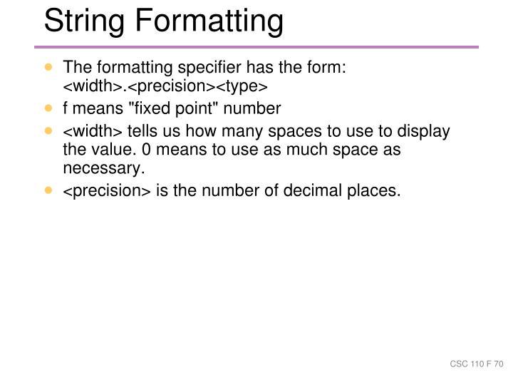 String Formatting
