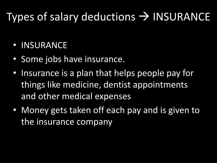 Types of salary deductions