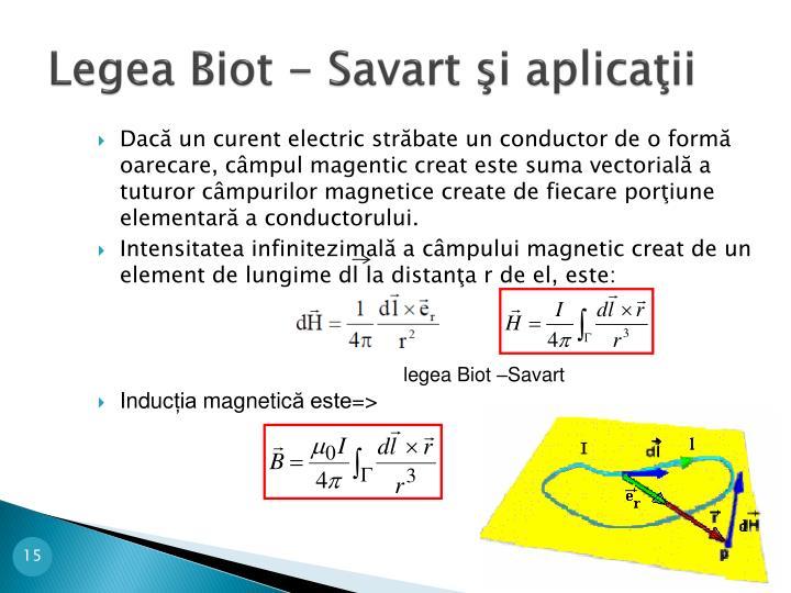 Legea Biot - Savart şi aplicaţii