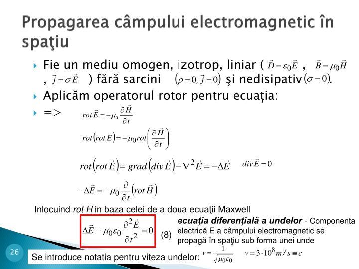 Propagarea câmpului electromagnetic în spaţiu